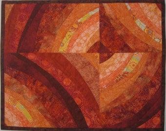 Art Quilt Rust Peach Heat Wave, wall quilt, contemporary quilt, fiber arts, star quilt