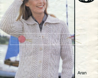 Lady's Cable Jacket Aran 32-42ins Sirdar 6021 Vintage Knitting Pattern PDF instant download