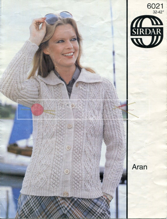 Lady's Cable Jacket Aran 32-42ins Sirdar 6021 Vintage Knitting Pattern PDF instant download