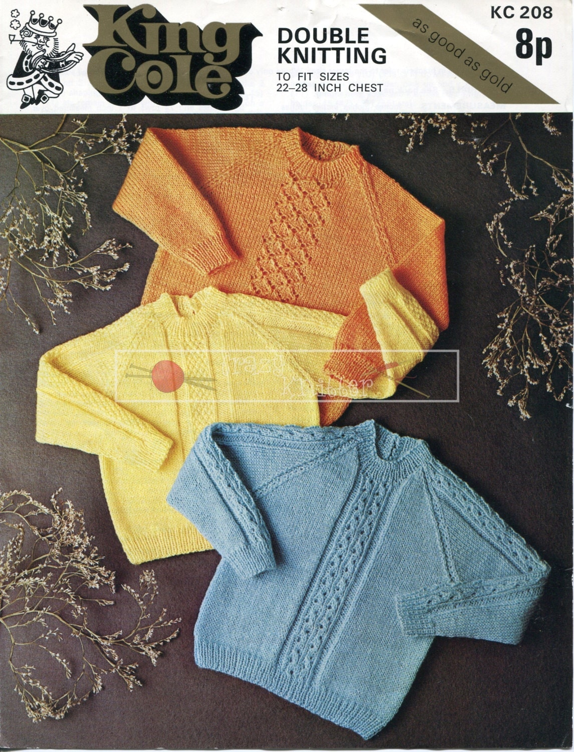 King Cole Knitting Patterns To Download : Child Sweaters DK 22-28ins. King Cole KC 208 Knitting Pattern PDF instant dow...