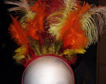 "Small Full feather headpiece in ""Phoenix""//ostrich feathers//guinnea feathers//Swarovski crystals"