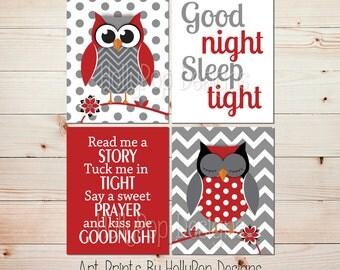 Owl Nursery Wall Art Red Gray Nursery Decor Baby Girl Nursery Baby Boy Nursery Read Me A Story Good Night Sleep Tight Nursery Wall Art #1191