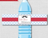 Printable Little Man Mustache Water Bottle Labels - Little Man Party - Mustache Themed Bash - Digital Design - INSTANT DOWNLOAD