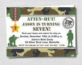 Classic Camo or Army Birthday Invitation - Army Themed Party - Boy Birthday Invite - Digital Design or Printed Invitations - FREE SHIPPING