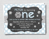 Boy Winter Onederland Birthday Invitation - Winter First Birthday Party - Digital Design or Printed Invitations - FREE SHIPPING
