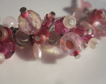 Pink Pomegranite Beaded Spray Necklace