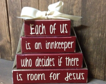 Christmas wood stacker block set- Christian Religious Jesus Faith Gift set Home Decor