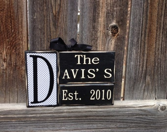 Personalized Established Name Family wood block set--wedding gift
