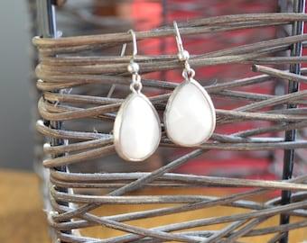 SALE Milky Jade Teardrop Earrings (Silver)