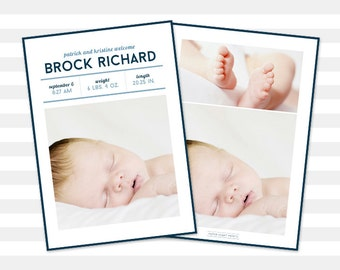 Baby Boy Birth Announcement - Baby Announcement Boy, Custom, Double Sided Photo Card - Brock