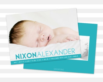 Baby Boy Birth Announcement - Custom Baby Announcement - Photo Card - Double Sided - Nixon