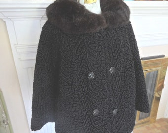 Faux Persian lamb jacket with fur collar / coat, 3/4 sleeves / double breasted, vintage evening / winter wear