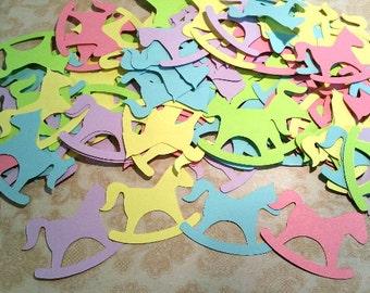 100 Die Cut Paper Rocking Horses. 2 inch.  #DC-7