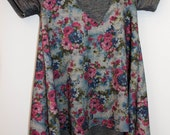 Pink and blue floral stretch denim knit dress. long sleeve short sleeve By Little Lapsi