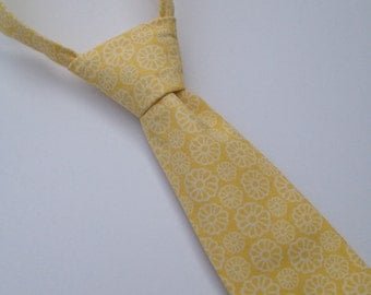 Boys Neck Tie, Infant Tie, Toddler Neck Tie, Flower Neck Tie, Yellow Tie