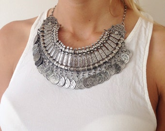 Narla - silver kuchi tribal statement necklace