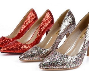 Glitter Mid Heel Stiletto Corset Luxury Red Multi Party Pump sizes 2,3,4,5,6,7,8,9,10