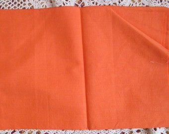 Vintage Cotton Fabric Quilting Sewing Orange Sherbet Solid 1930s 37 x 27