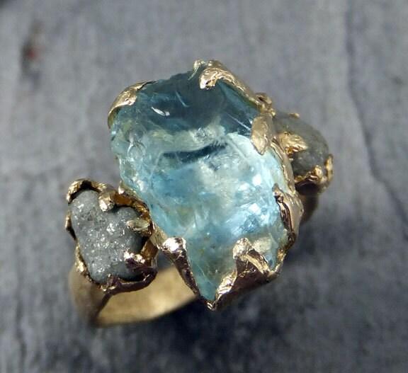Raw Uncut Aquamarine Diamond Gold Engagement Ring Wedding Ring