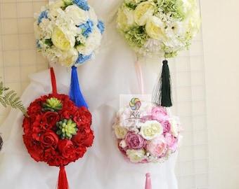 artificial flower wedding bouquet flowerball rose hydrangea