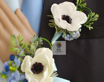 artificial flower wedding groom boutonniere anemone pu real touch