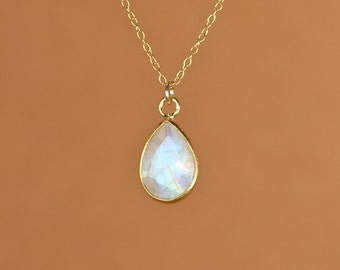 Moonstone necklace - rainbow moonstone - gold moonstone - blue flash - a 22k gold lined teardrop moonstone on a 14k gold vermeil chain