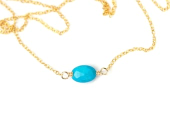 Turquoise necklace - oval - geometric - simple - a genuine tiny turquoise oval on a 14k gold vermeil or sterling silver chain
