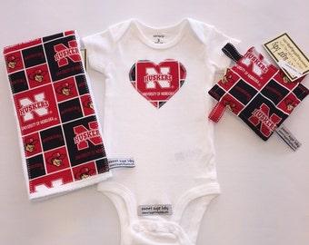 Nebraska Huskers Heart Onesie Gift Set