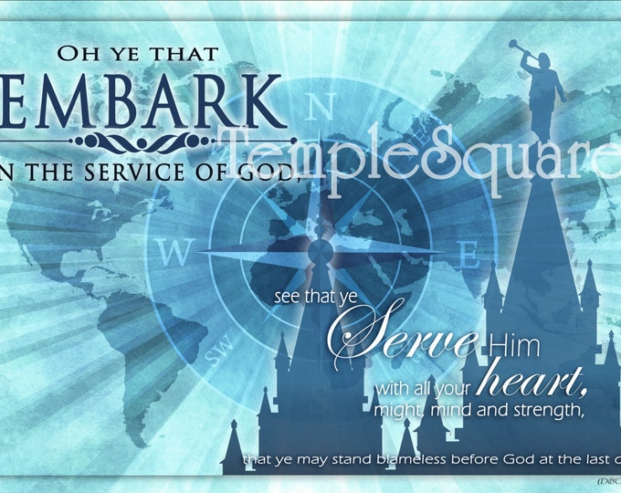 YW Printable LDS Temple Art in 4 most popular frameable sizes. Young Women 2015 Theme Embark Blues Series Instant Download Digital Files