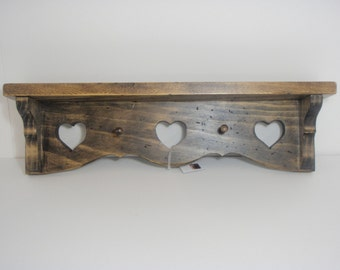 Distressed  Shelf with Hearts and Pegs