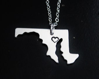 Maryland State Necklace, City State Necklace, MD Necklace, State Jewelry