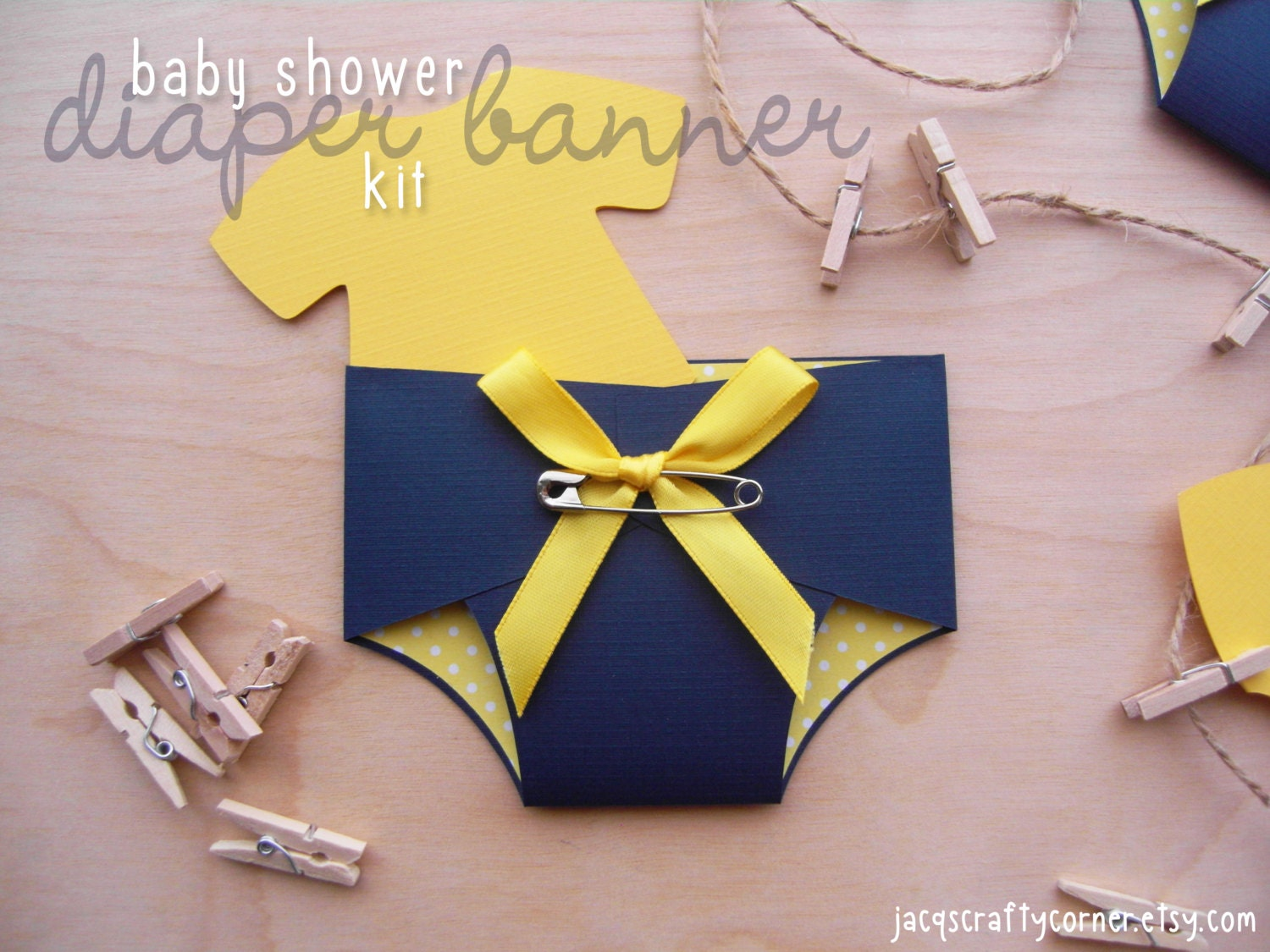 Baby shower diaper banner kit navy blue and by jacqscraftycorner