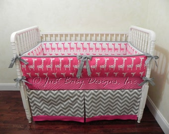 Custom Crib Bedding Sophia Lavender And Gray Girl Baby