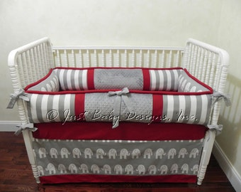 Custom Baby Bedding Set Bryant - Boy Baby Bedding, Neutral Crib Bedding, Gray Elephants and Stripes with Crimson Baby Bedding