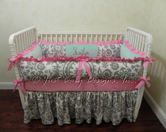 Custom Baby Crib Bedding Set Kaitlyn - Baby Girl Bedding, Pink & Mint Baby Bedding