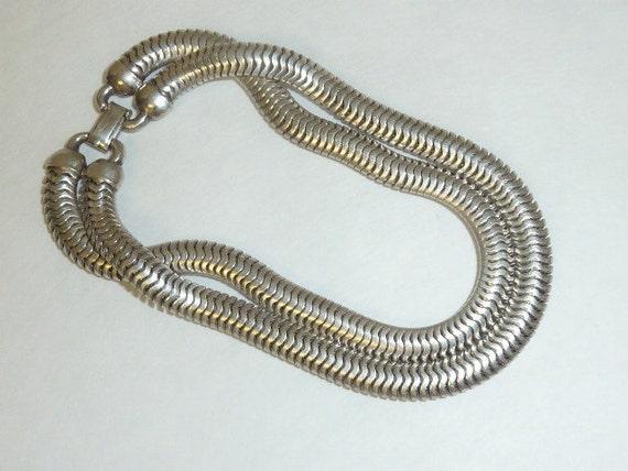 vintage forstner sterling silver snake chain bracelet art deco