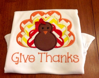 Give Thanks Turkey Applique shirt, great for Thanksgiving