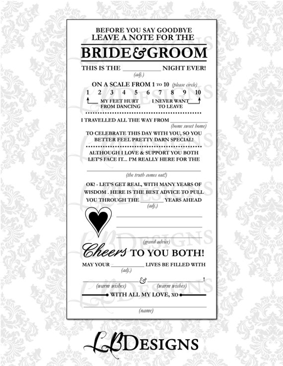 Wedding Guest Questionnaire Mad Libs