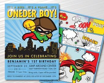 ONEder Boy - Superhero First Birthday Party Invitation