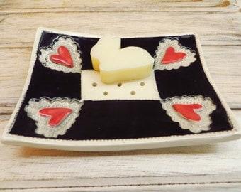 Soap Tray Dish - Handmade Ceramics in Red, Black and White, Unique