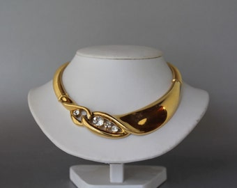 Givenchy Gold Tone Massive Necklace/Collar, 80s new, Authentic,signed