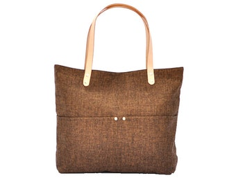 Linen Tote, Beach Bag, Simple Tote Bag for Women, Market tote Bag with Genuine Leather strap