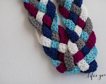 Crochet pattern Braided Infinity Scarf, 5 Braid. Instant digital download CP105BS5