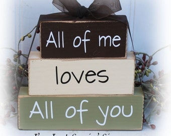 All of Me Loves All Of You Itty Bitty Wood Stacking Blocks