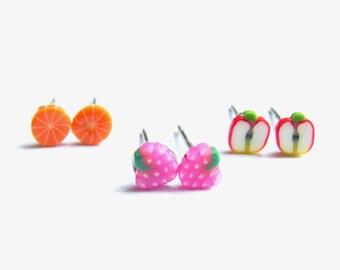 Sliced Fruit Earrings - Set of 3 Small Stud Earrings, Polymer Clay Fruit Studs, Strawberry, Apple, Orange Cute Stud Earring