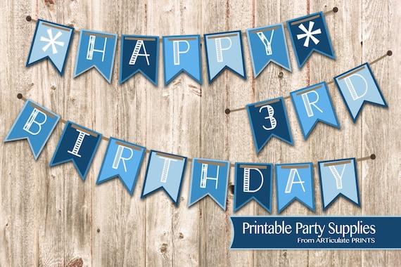 Baby Boys Happy Birthday Banner Baby Boy Printable Party