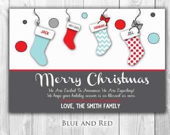 Christmas Stockings Card or Pregnancy Announcement | 12 Count with Envelopes