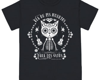 CATS' DAY of the DEAD Unisex Cat Tee Shirt Black