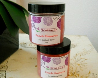 Peach Plumeria Sea Salt Scrub, Body Scrub, Exfoliating Scrub, Vegan Scrub
