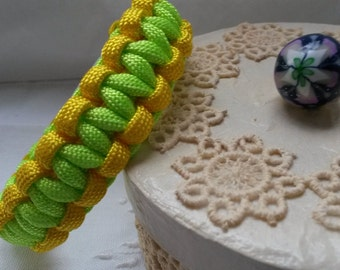 Neon yellow and green paracord bracelet